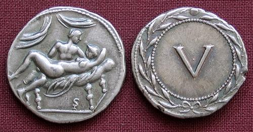 Spintrie V. stříbro 999 | erotický žeton (1. stol. po Kr.) Řím | replika mince