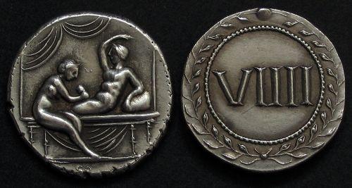Spintrie VIIII. stříbro 999 | erotický žeton (1. stol. po Kr.) Řím | replika mince