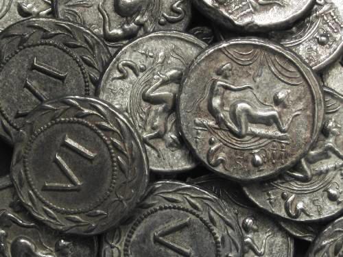 Spintrie VI. cín | erotický žeton (1. stol. po Kr.) Řím | replika mince