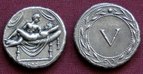 Spintrie V. cín | erotický žeton (1. stol. po Kr.) Řím | replika mince
