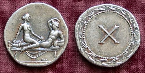 Spintrie X. stříbro 999 | erotický žeton (1. stol. po Kr.) Řím | replika mince