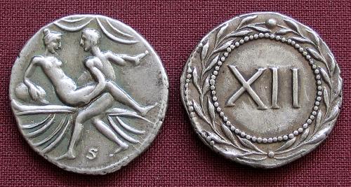 Spintrie XII. stříbro 999 | erotický žeton (1. stol. po Kr.) Řím | replika mince