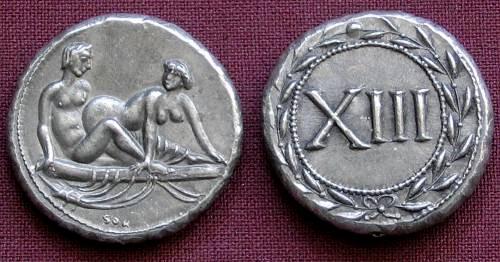 Spintrie XIII. cín | erotický žeton (1. stol. po Kr.) Řím | replika mince
