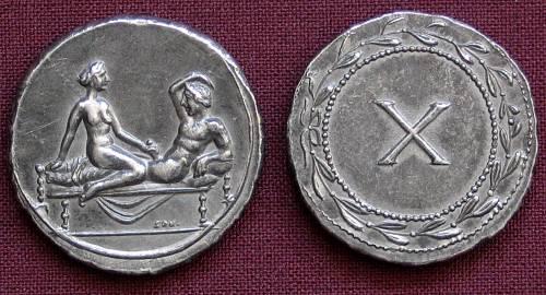 Spintrie X. cín | erotický žeton (1. stol. po Kr.) Řím | replika mince