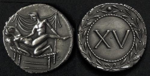 Spintrie XV. stříbro 999 | erotický žeton (1. stol. po Kr.) Řím | replika mince