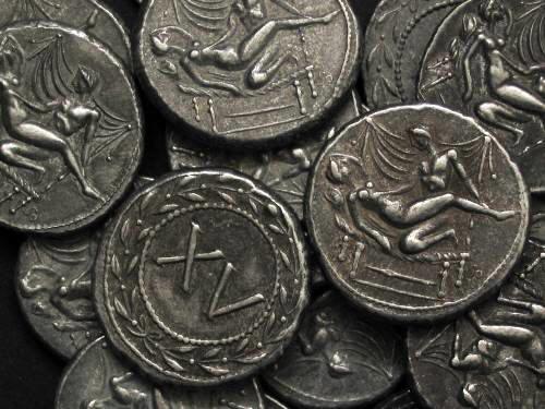 Spintrie XV. cín | erotický žeton (1. stol. po Kr.) Řím | replika mince